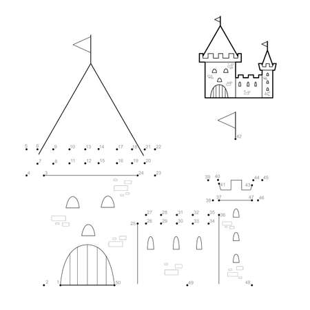 Dot to dot puzzle for children. Connect dots game. castle illustration