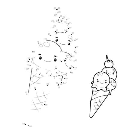 Dot to dot puzzle for children. Connect dots game. ice cream illustration