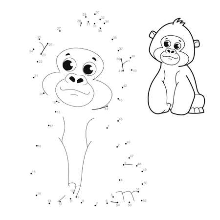 Dot to dot puzzle for children. Connect dots game. gorilla illustration
