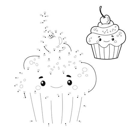 Dot to dot puzzle for children. Connect dots game. cake illustration Illustration