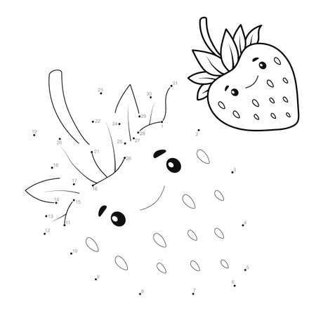 Dot to dot puzzle for children. Connect dots game. Strawberry illustration Illustration