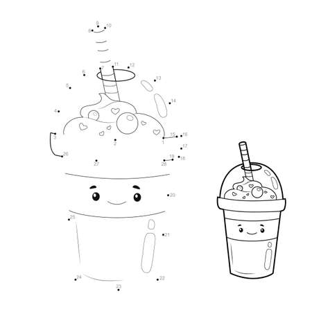 Dot to dot puzzle for children. Connect dots game. drink illustration