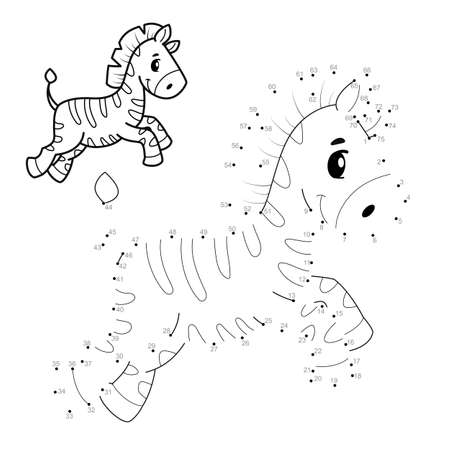 Dot to dot puzzle for children. Connect dots game. zebra illustration