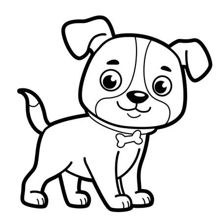 Coloring book or page for kids. Dog black and white vector illustration