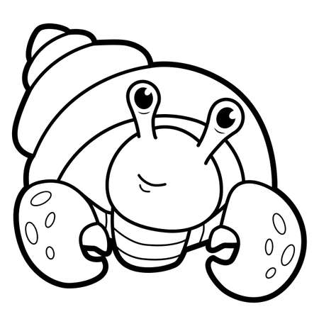 Coloring book or page for kids. Cancer hermit black and white vector illustration