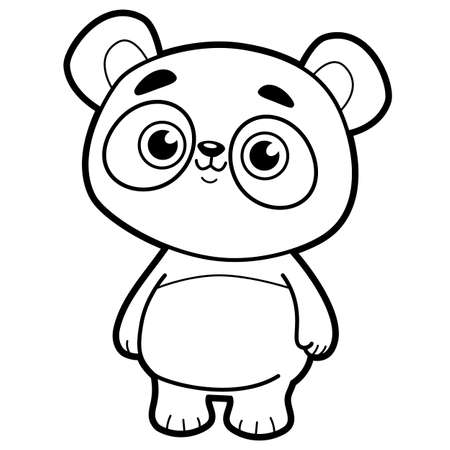 Coloring book or page for kids. Panda black and white vector illustration