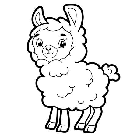 Coloring book or page for kids. sheep black and white vector illustration