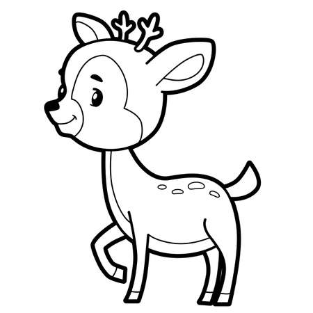 Coloring book or page for kids. deer black and white vector illustration