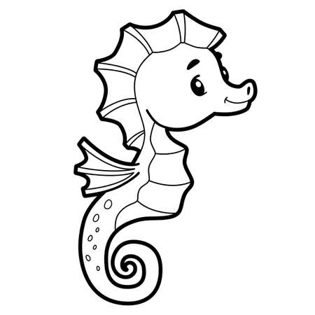 Coloring book or page for kids. Sea Horse black and white vector illustration Illustration