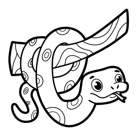 Coloring book or page for kids. snake black and white vector illustration