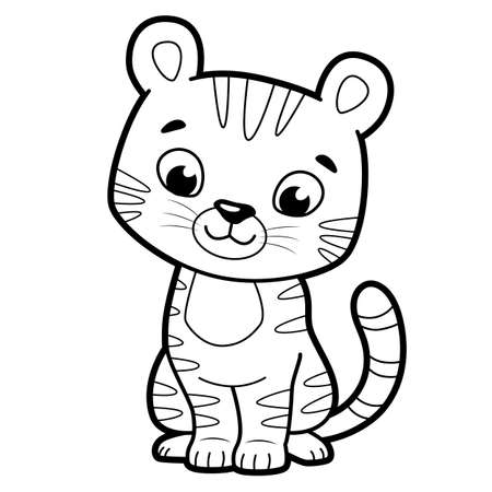 Coloring book or page for kids. Tiger black and white vector illustration