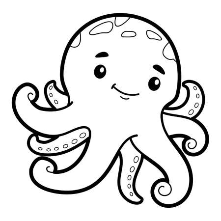 Coloring book or page for kids. octopus black and white vector illustration Illustration