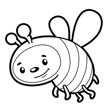 Coloring book or page for kids. bee black and white vector illustration