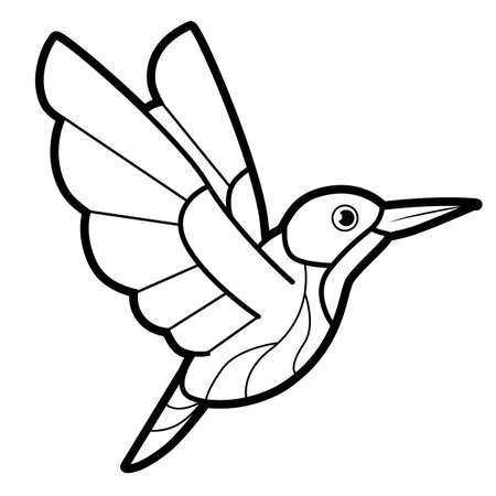 Coloring book or page for kids. bird black and white vector illustration