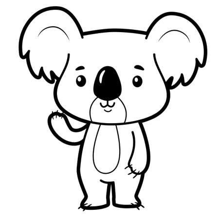 Coloring book or page for kids. koala black and white vector illustration Illustration