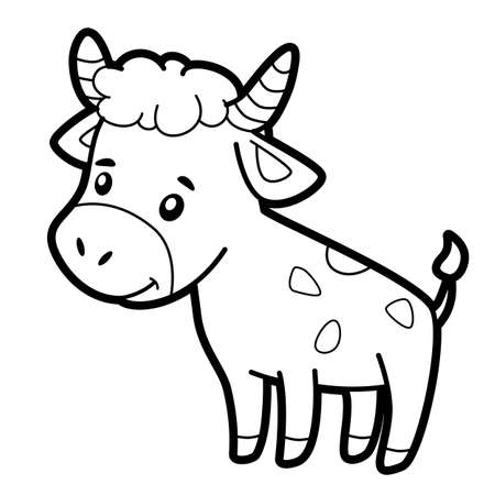 Coloring book or page for kids. bull black and white vector illustration