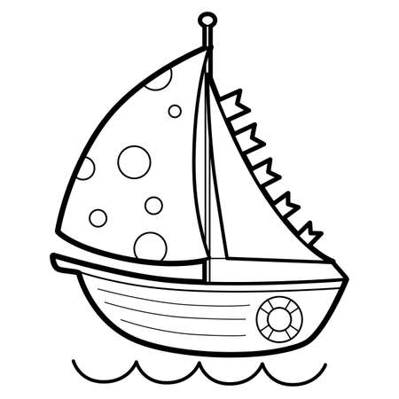 Coloring book or page for kids. boat black and white vector illustration