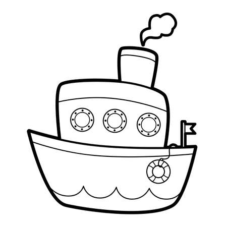 Coloring book or page for kids. ship black and white vector illustration