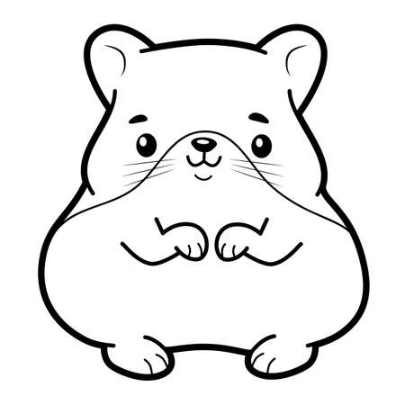 Coloring book or page for kids. hamster black and white vector illustration