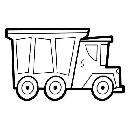 Coloring book or page for kids. truck black and white vector illustration