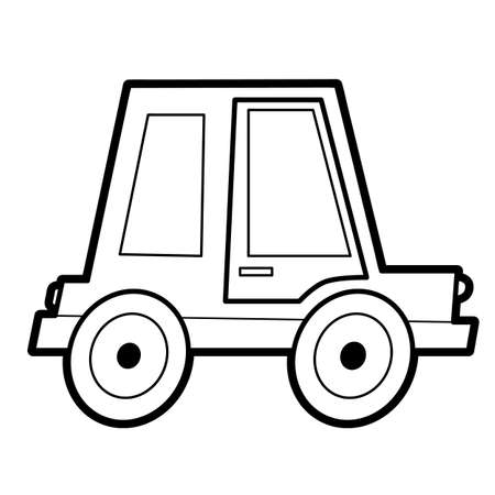 Coloring book or page for kids. car black and white vector illustration