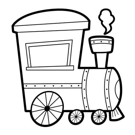 Coloring book or page for kids. locomotive black and white vector illustration
