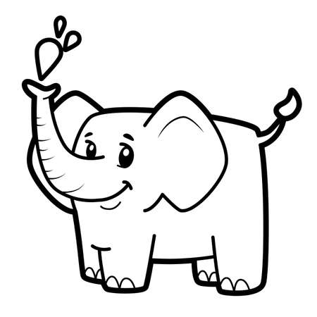 Coloring book or page for kids. elephant black and white vector illustration
