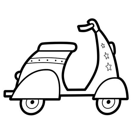 Coloring book or page for kids. motorbike black and white vector illustration