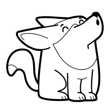 Coloring book or page for kids. wolf black and white vector illustration