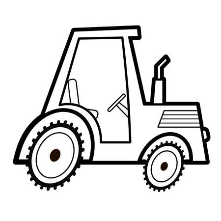 Coloring book or page for kids. tractor black and white vector illustration Vectores