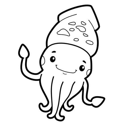 Coloring book or page for kids. squid black and white vector illustration Vectores