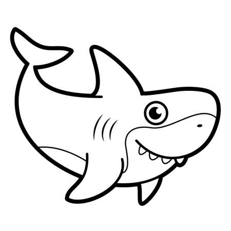 Coloring book or page for kids. shark black and white vector illustration Vectores