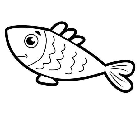Coloring book or page for kids. fish black and white vector illustration Vectores