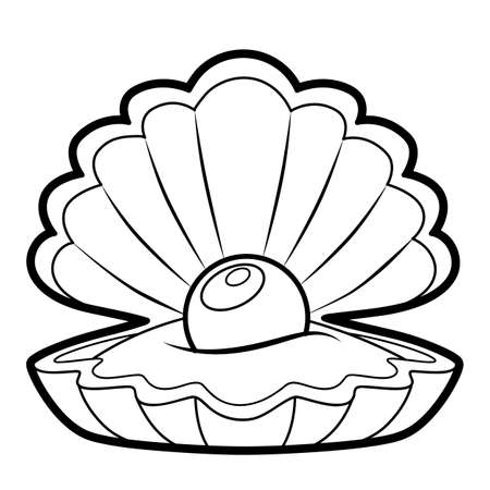 Coloring book or page for kids. shell black and white vector illustration Vectores