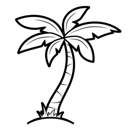 Coloring book or page for kids. palm black and white vector illustration Vectores