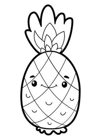 Coloring book or page for kids. pineapple black and white vector illustration Vectores