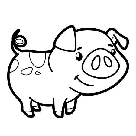 Coloring book or page for kids. pig black and white vector illustration Vectores
