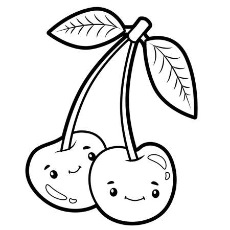 Coloring book or page for kids. cherry black and white vector illustration Vectores