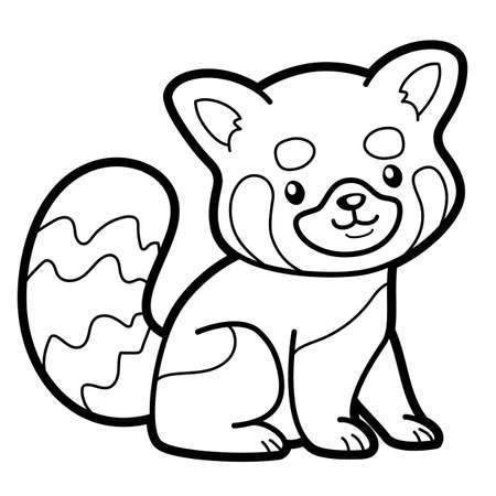 Coloring book or page for kids. Red panda black and white vector illustration
