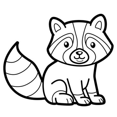 Coloring book or page for kids. badger black and white vector illustration
