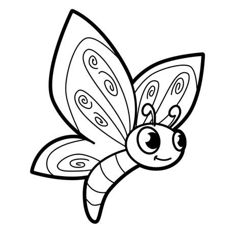 Coloring book or page for kids. butterfly black and white vector illustration Vectores