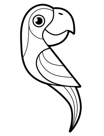 Coloring book or page for kids. parrot black and white vector illustration Vectores