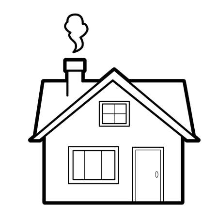 Coloring book or page for kids. house black and white vector illustration