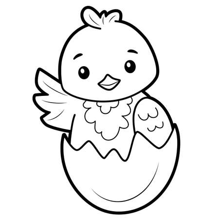 Coloring book or page for kids. chick black and white vector illustration Vectores