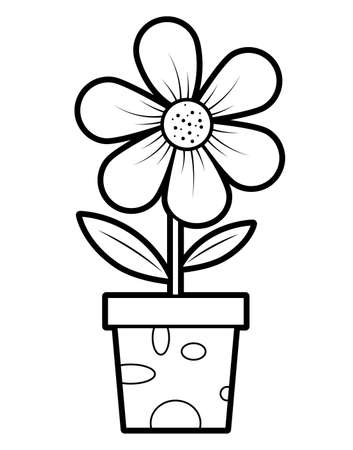 Coloring book or page for kids. potted flower black and white vector illustration