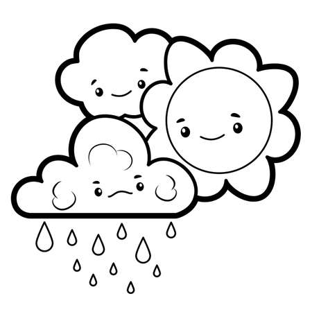 Coloring book or page for kids. sun and cloud black and white vector illustration Vectores