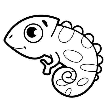 Coloring book or page for kids. iguana black and white vector illustration
