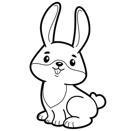 Coloring book or page for kids. rabbit black and white vector illustration Vectores