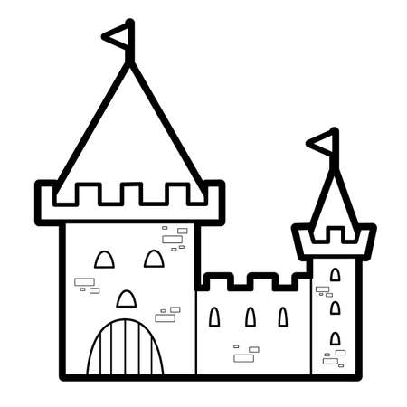 Coloring book or page for kids. castle black and white vector illustration Vectores