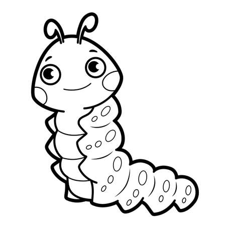 Coloring book or page for kids. caterpillar black and white vector illustration Vectores